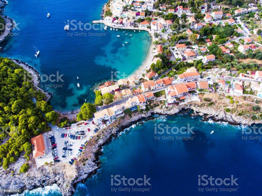 Assos village in Kefalonia stock photo