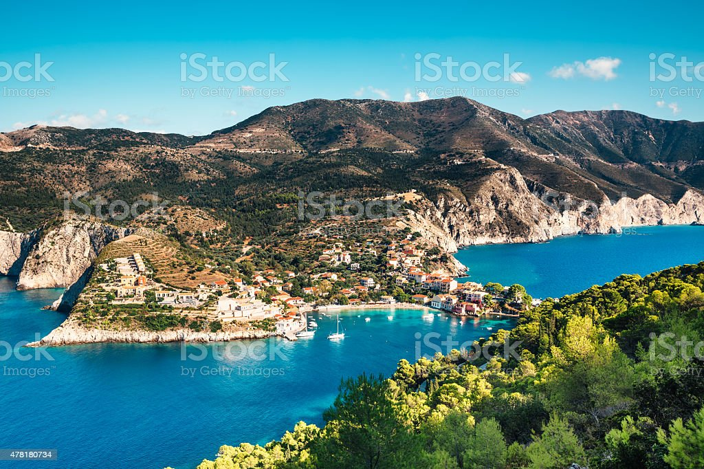 Assos Village On Kefalonia stock photo