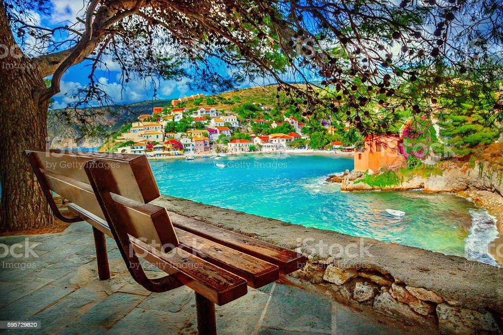 Assos village stock photo