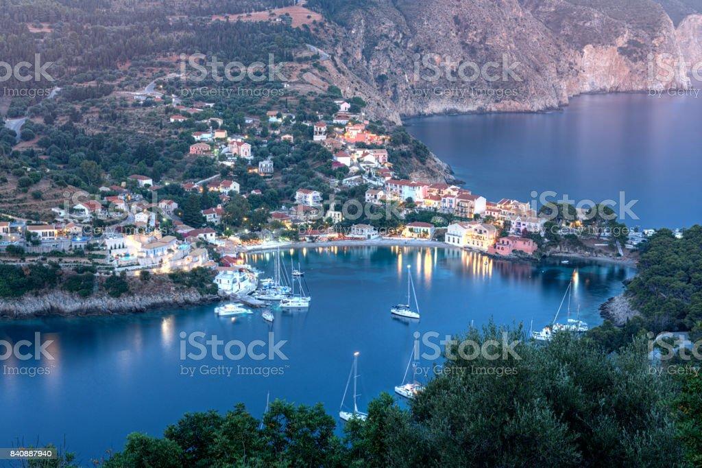 Assos village view from the venetian castle, Kefalonia, Greece stock photo