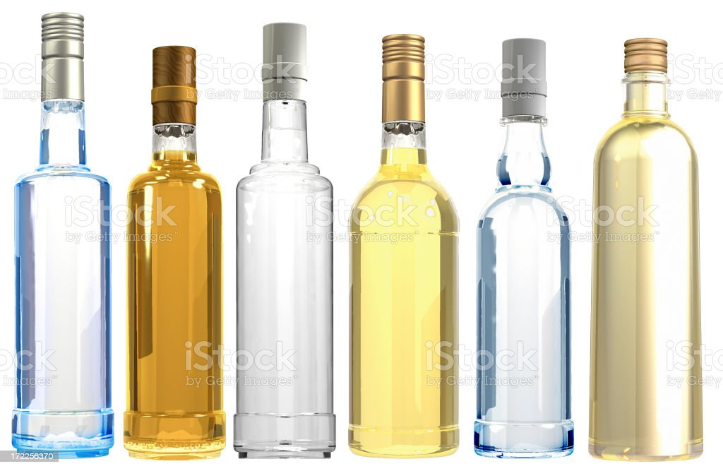 3D Assoted bottles royalty-free stock photo