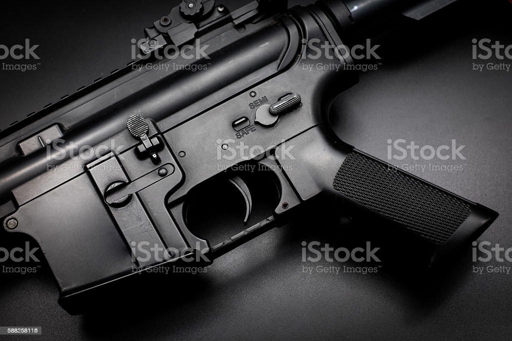 Assult rifle on black background stock photo