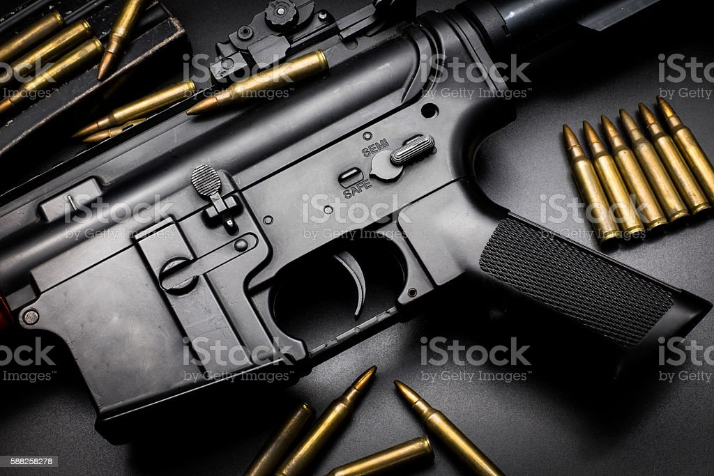 M4A1 assult rifle on black background stock photo
