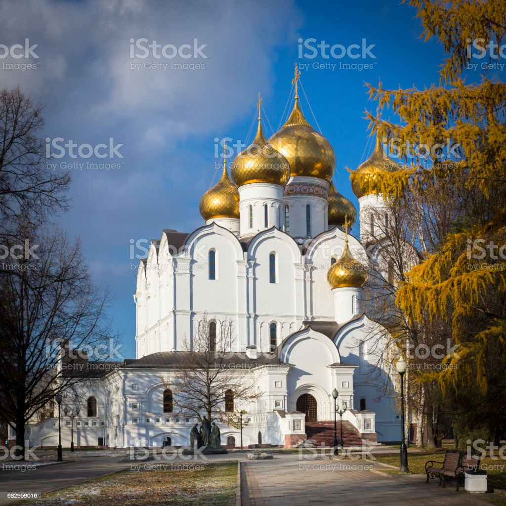 Assumption Cathedral in Yaroslavl at autumn royalty-free stock photo