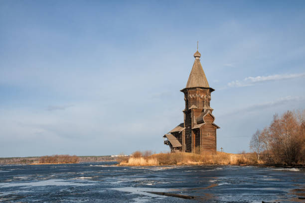 Assumption Church in Kondopoga Assumption Church in Kondopoga in the early spring. View from Lake Onega. Karelia, Russia republic of karelia russia stock pictures, royalty-free photos & images