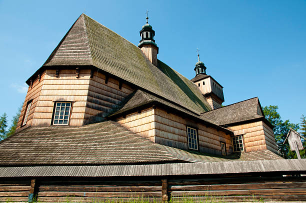 assumption of holy mary church - haczow - poland - ferragosto foto e immagini stock
