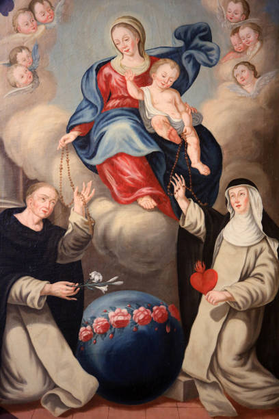 assumption of the virgin. (unknown painter). church of our lady of the assumption built between 1781 and 1785. cordon. haute-savoie. france. - ferragosto foto e immagini stock