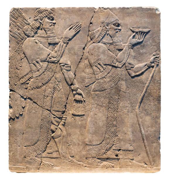 Assyrian art on the wall stock photo