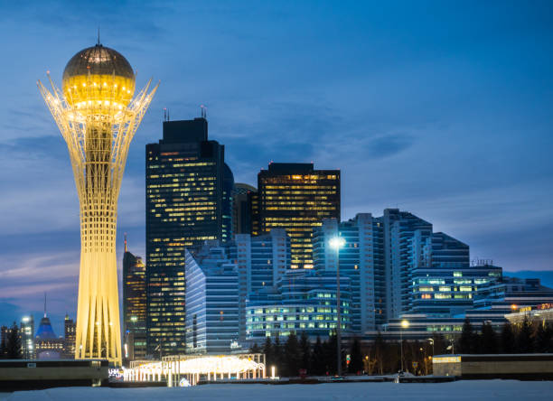 Astana city, Kazakhstan Astana City Night View in winter time kazakhstan stock pictures, royalty-free photos & images