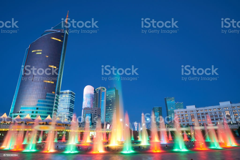 Astana cityscape. Colorful fountains photo libre de droits