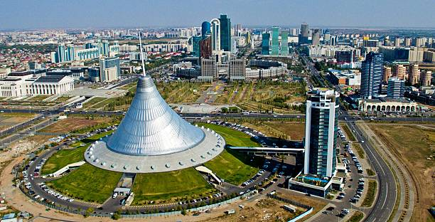 Astana from the bird's flight. Khan's marquee. stock photo