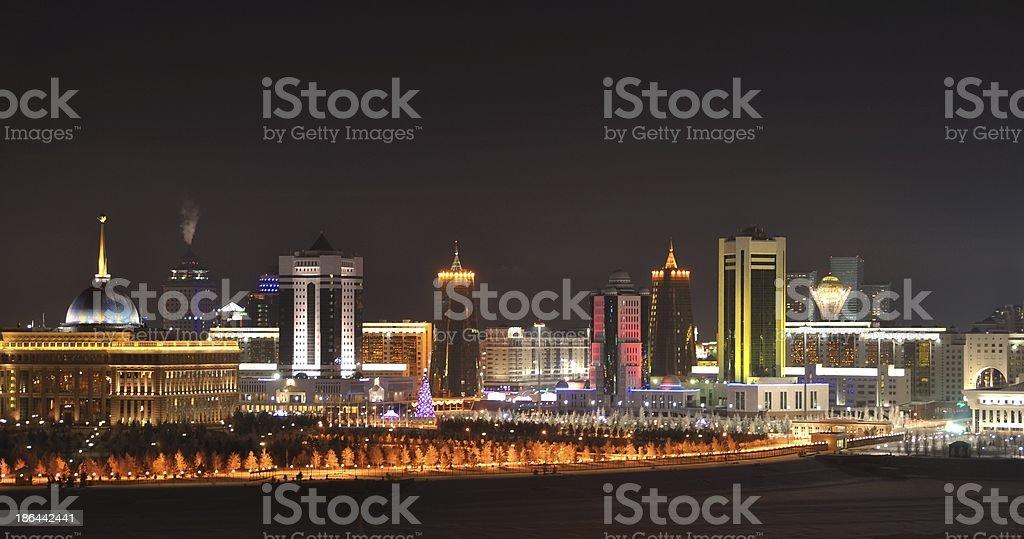 Astana Kazakhstan night skyline stock photo