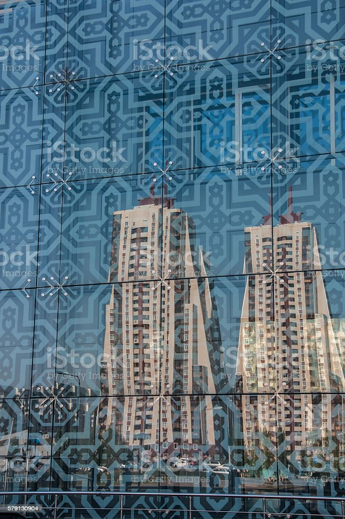 Astana reflection new building in toning glass with pattern stock photo