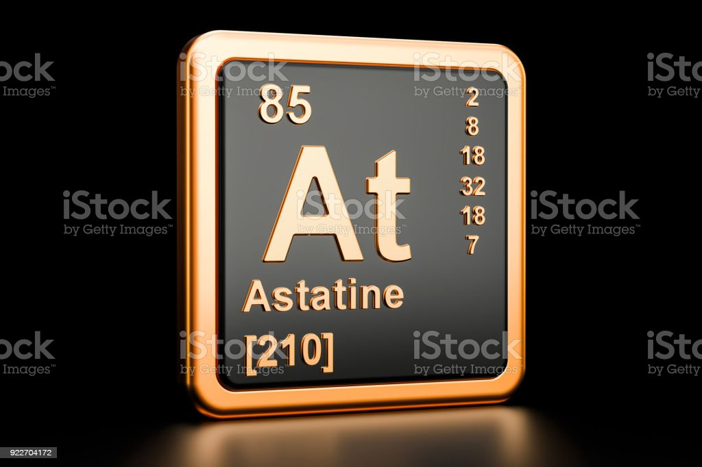 Astatine At Chemical Element 3d Rendering Isolated On Black