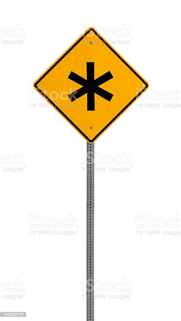 * asterik - Yellow road warning sign - foto stock