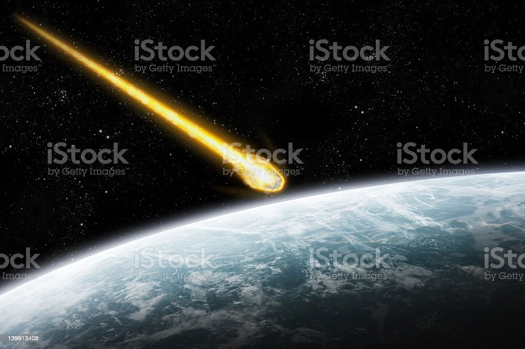 Asteroid and Earth : Meteor impact stock photo