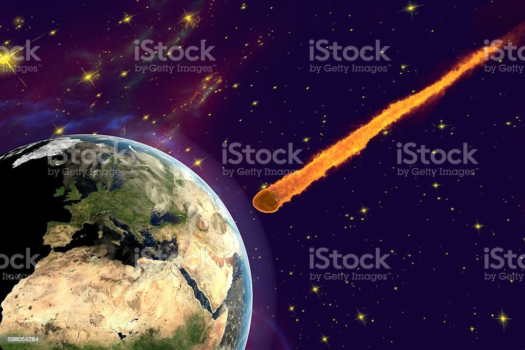 Asteroid approaching to the Earth stock photo