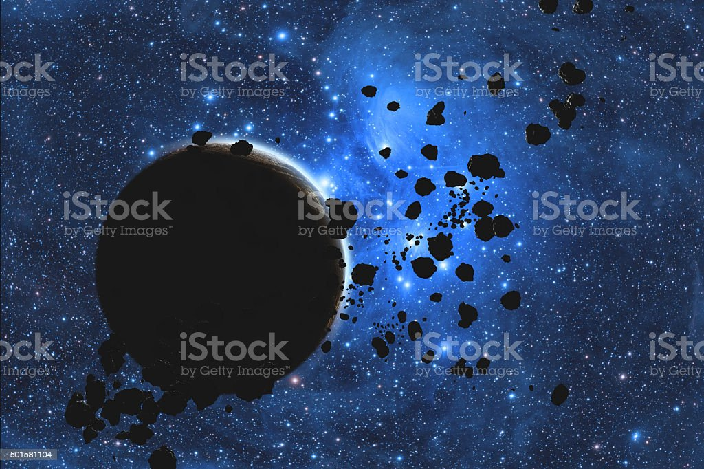 Asteroid belt with a starry background and Planet stock photo