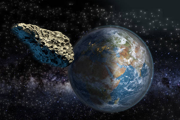 Asteroid close to Earth stock photo