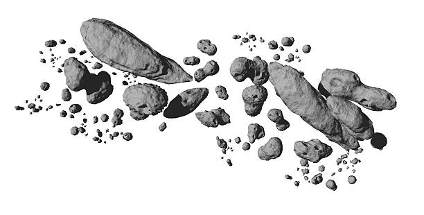 Asteroid Field isolated on white stock photo