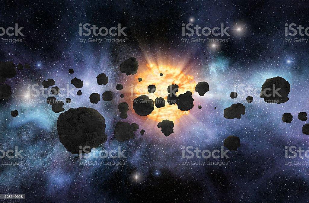Asteroid field stock photo