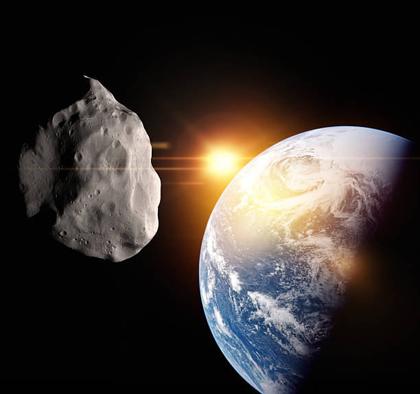 Asteroid flight at Earth stock photo