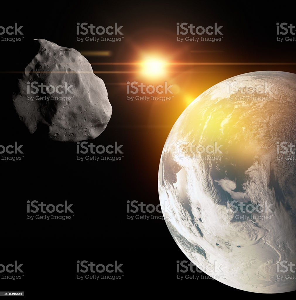 Asteroid flight at Earth royalty-free stock photo