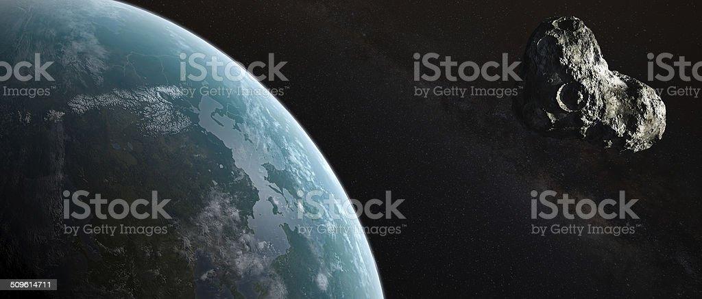 Asteroid flight at Earth. stock photo