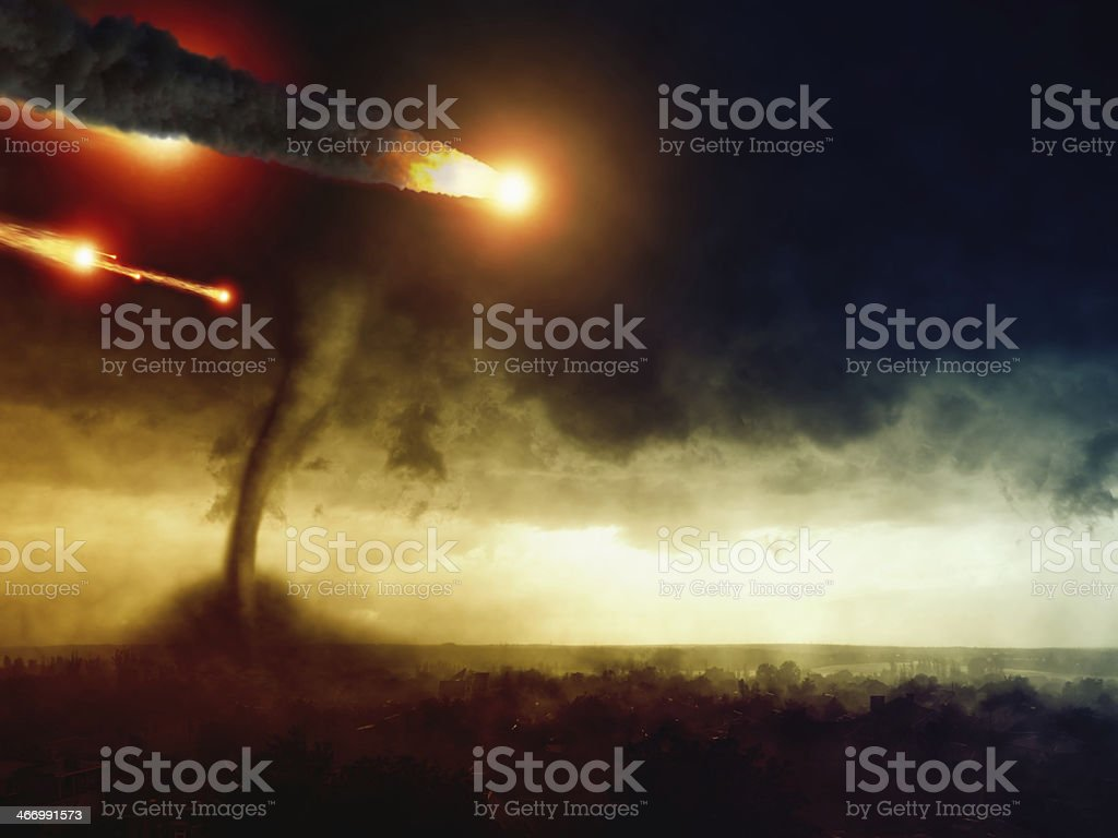 Asteroid impact and huge tornado stock photo