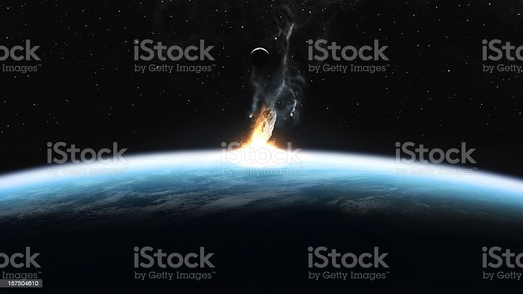 Asteroid Impact on Earth  Accidents and Disasters Stock Photo
