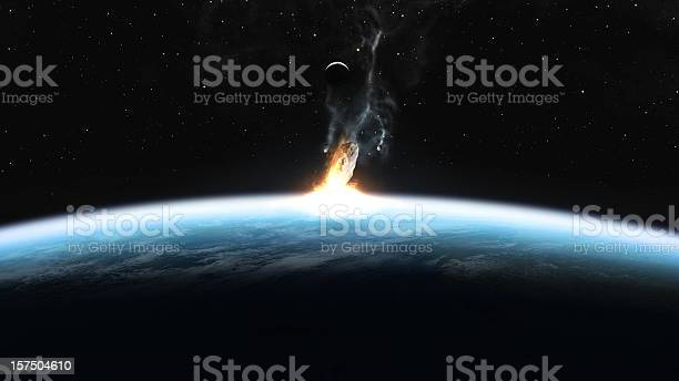 Asteroid Impact On Earth Stock Photo - Download Image Now