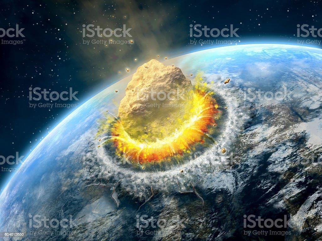 Asteroid impact stock photo