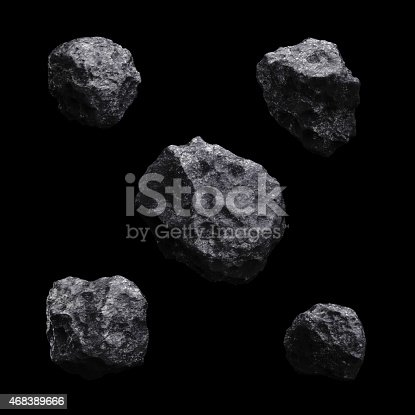 istock Asteroid isolated set 3d render on black background 468389666