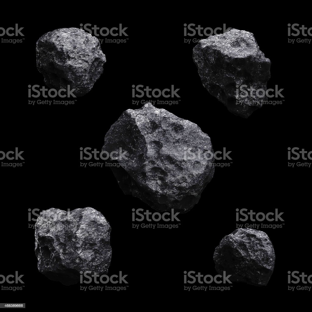 Asteroid isolated set 3d render on black background stock photo
