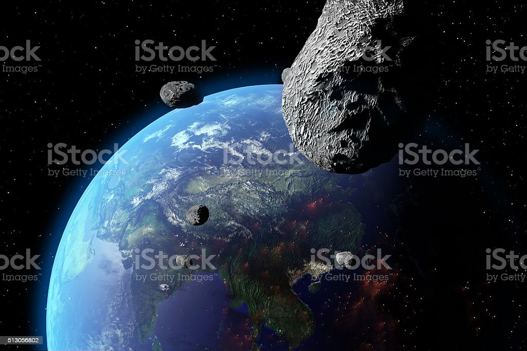 Asteroid Nears Earth stock photo