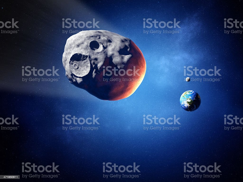 Asteroid on collision course with earth stock photo