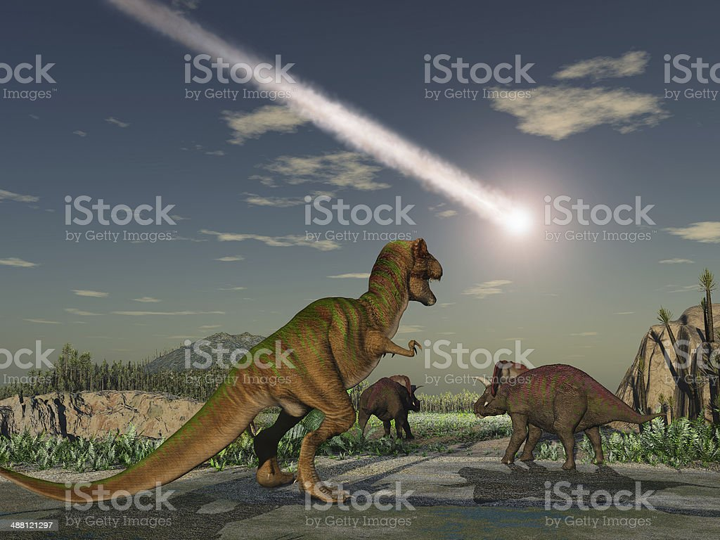 Asteroid that wiped out the dinosaurs royalty-free stock photo