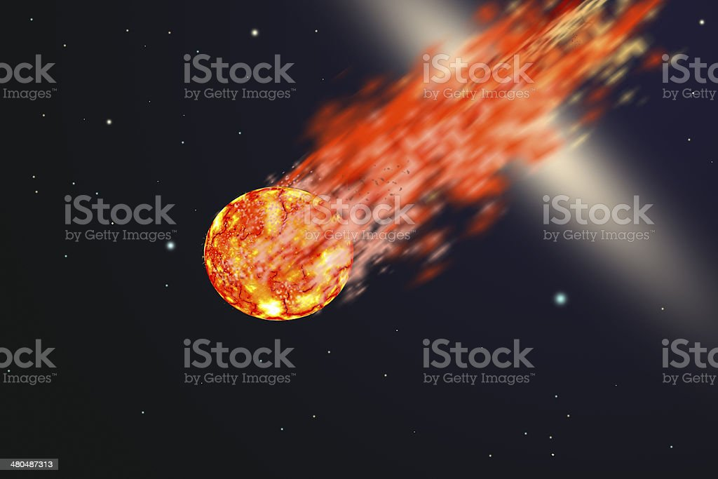 Asteroid with tail of fire stock photo
