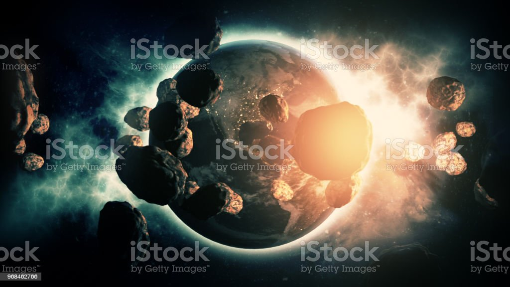 Asteroids Striking Earth, Dinosaurs Meteors stock photo