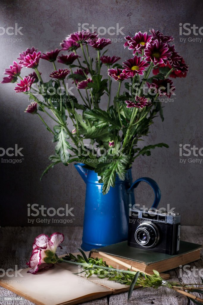 Asters in vase royalty-free stock photo