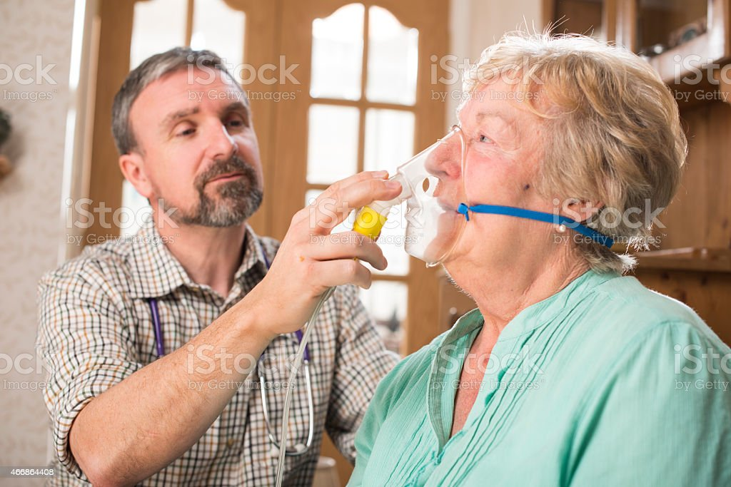asthma attack in safe hands stock photo