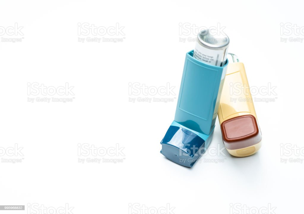 Asthma inhaler. Asthma controller, reliever equipment. Steroids and bronchodilator drug for asthma and chronic bronchitis. Budesonide aerosol CFC free for bronchial antiasthmatic. Salbutamol inhalers. stock photo