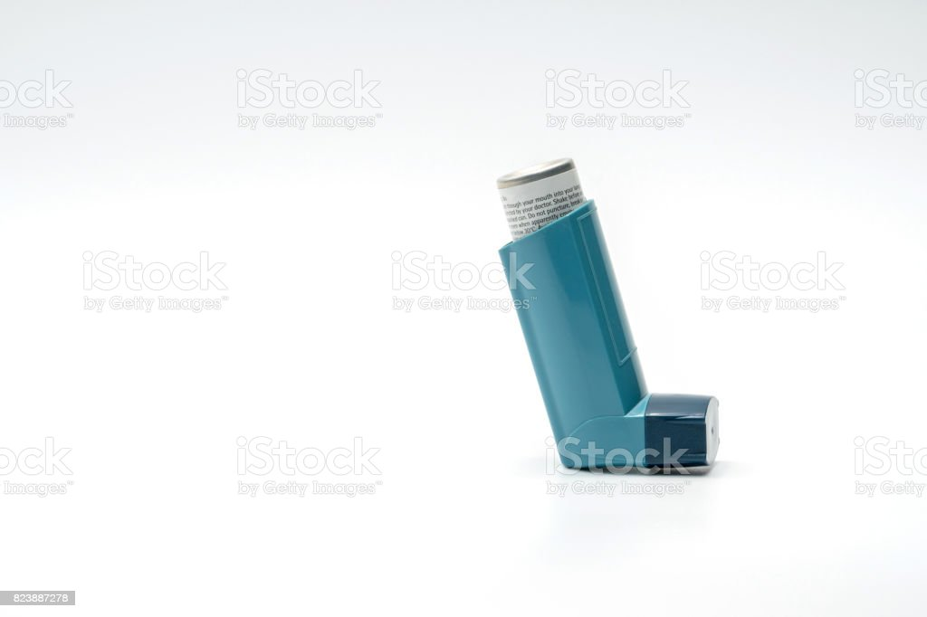 Asthma inhaler isolated on white background, reliever stock photo