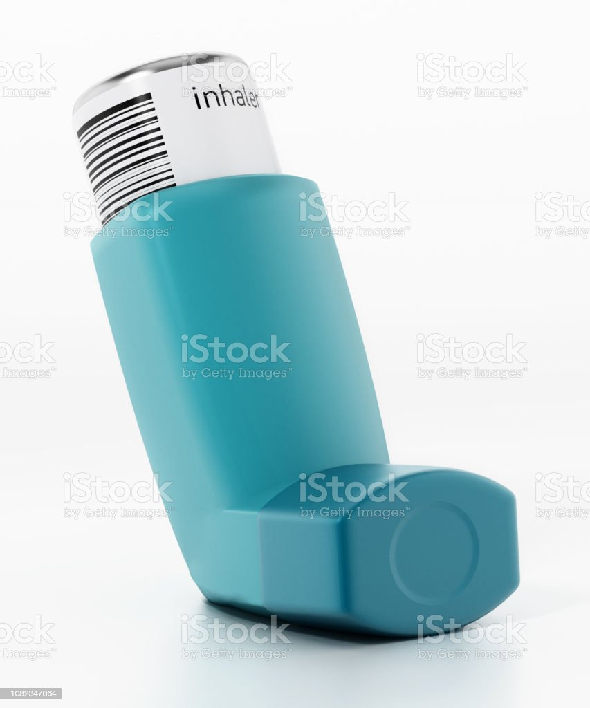 Asthma inhaler with medication tubes isolated on white stock photo