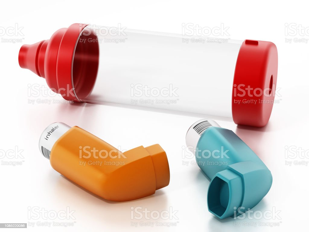 Asthma inhalers and air chamber stock photo