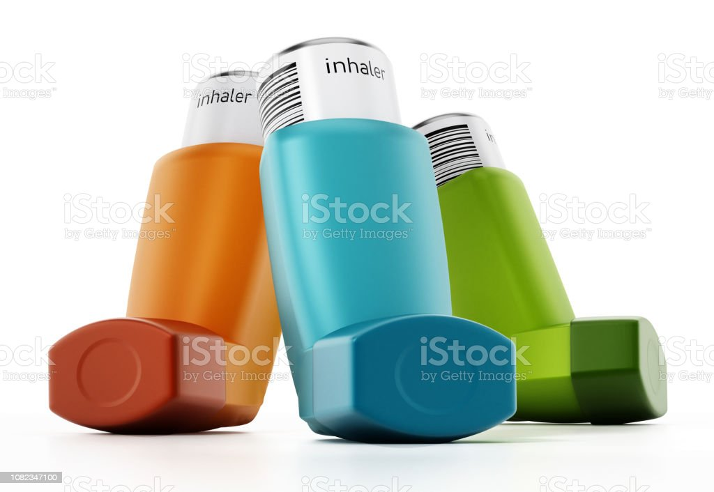Asthma inhalers with medication tubes isolated on white stock photo