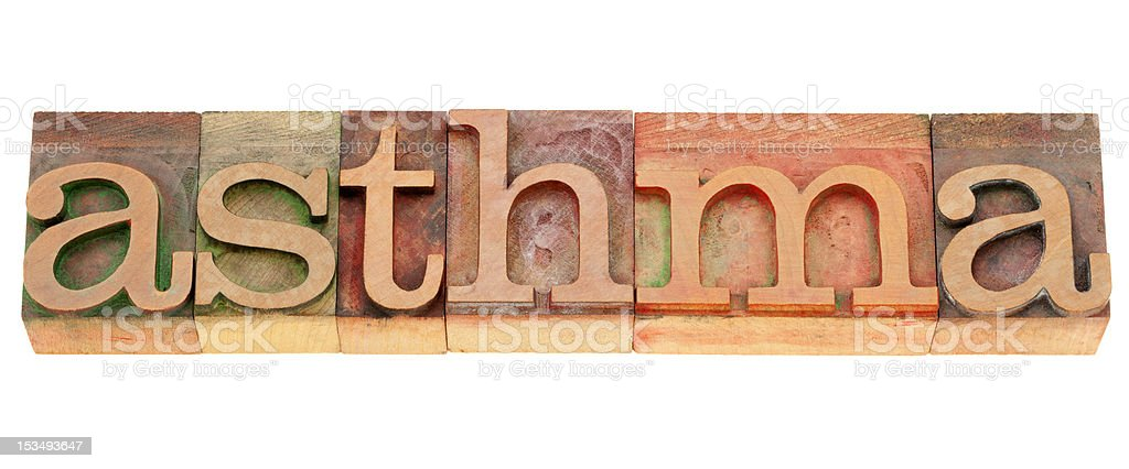 asthma word in letterpress type royalty-free stock photo