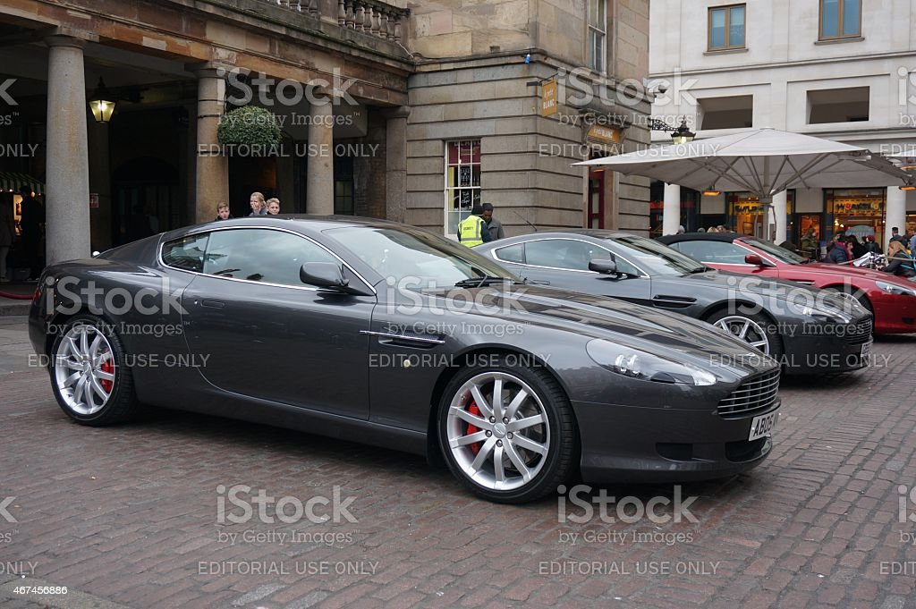 Aston Martin cars at Bond in Motion exhibition stock photo