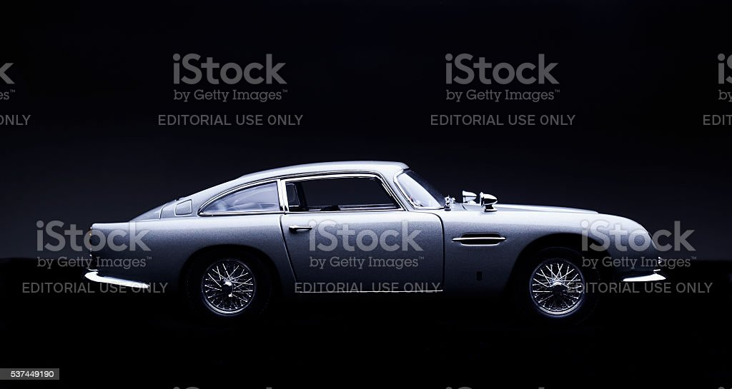 Aston Martin DB5 Scale Model On Black stock photo