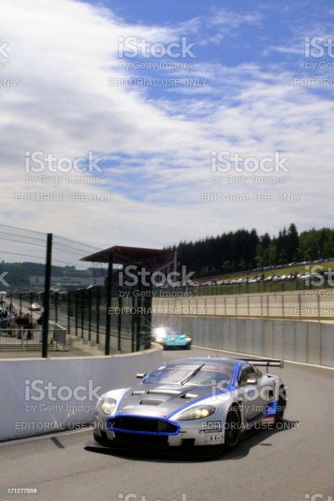 Aston Martin DBR9 race car at the race track stock photo